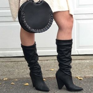 Slouch Chunky Heel Black Boots